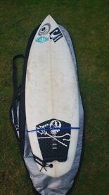 "Guts Mule Surfboard 6'8"" Quad Fin, Deck Grip, Leash & Board Bag"