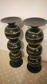 Tall Indian candle pillars stands set of two