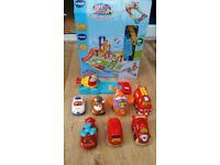 vtech toot toot ultimate track set + press & go launcher + extra vehicles