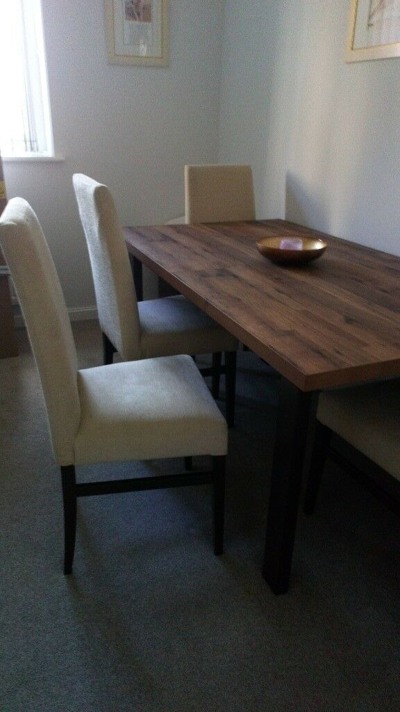 Dining Chairs For Sale Cream Fabric Dark Wood Legs Good Condition Buyer Colldct In Meadows