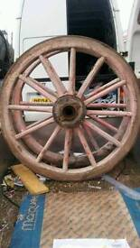 Vintage farm cart wheels