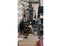 Maximuscle multi gym, bench press, cross trainer, extra weights.