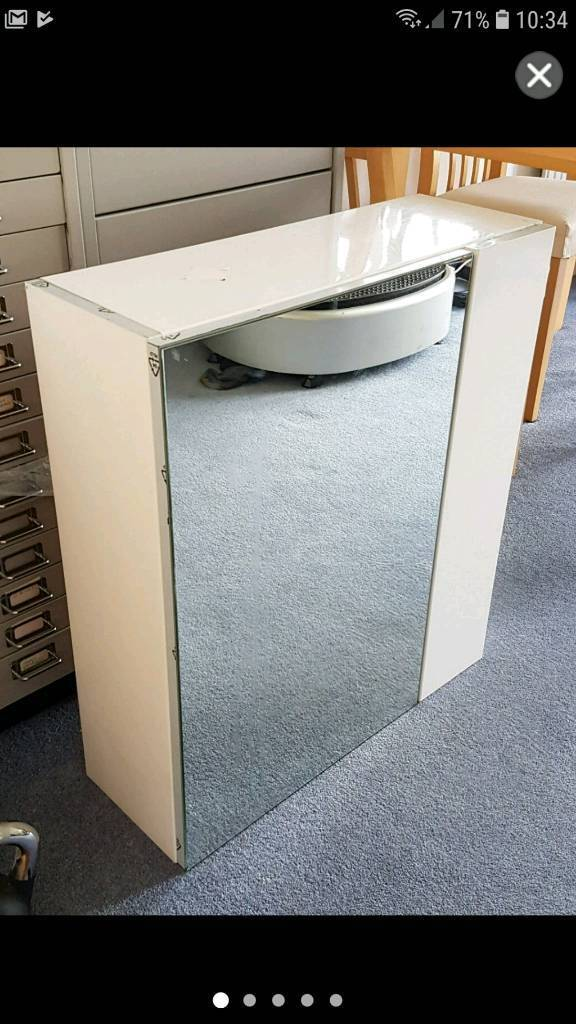New Large 2 Door White Gloss Mirrored Bathroom Cabinet Cooke Lewis
