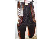 wulfsport race pants motocross motox quad junior youth kids orange size 24 approx age 7-8