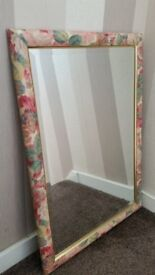 BEVELLED MIRROR WITH MULTI FLORAL FRAME