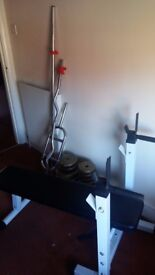 Adjustable Height Bench press + weights + 3 bars