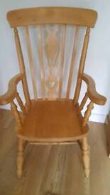 Solid Beech Grandfather Chair