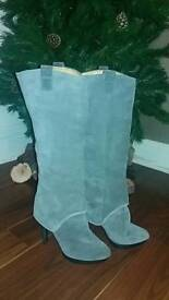 Suede soft grey ladies knee length boots from nine west