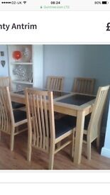 Solid pine Kitchen dining table and 4 chairs