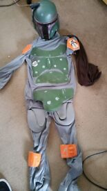 Boys Bobba Fett Star wars dress up costume size 10 years to 13