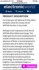 "42"" LG Plasma TV"