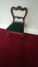 Antique Victorian mahogany dining chair. In good condition. Good quality carving. £50-00.