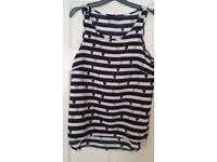 Ladies heart and stripe patterned vest top size 10