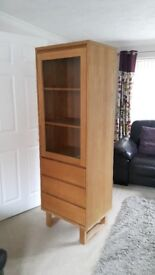 Tall wood vaneer cabinet