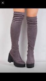 Knee high boots grey