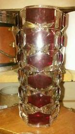 Retro red and clear glass vase.