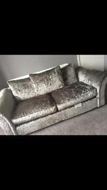 crushed velvet 3 seater sofa as new