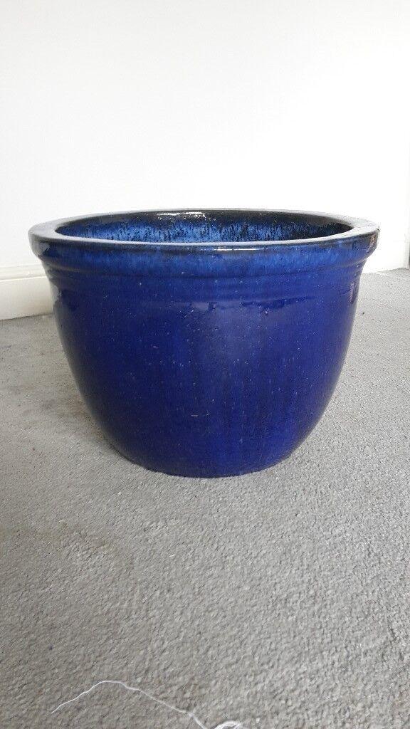 large glazed ceramic pot for plants in blue | in Highgate, London | Gumtree
