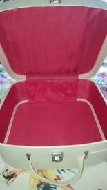 Vintage cream ladies suitcase