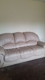 cream leather 3 seater and two chairs leather suite