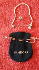 PANDORA BRACELET with 'PRESENT BOX' CHARM AND SAFETY CHAIN c/w PANDORA GIFT BAG.
