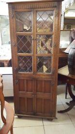 Vintage Rustic Oak Corner Unit With Leaded Glass By Jaycee