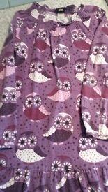 Girls Purple Owl Print Dress