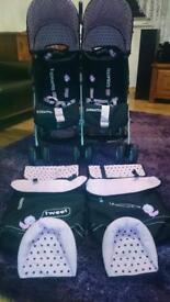Twin pram for girls for sale only £120 very good condition