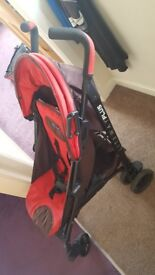 Chicco lightweight stroller in red fully reclines
