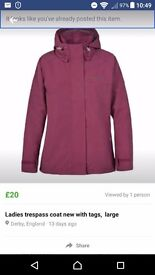 Ladies brand new with tags trespass coat, large.