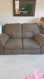 2 seater recliner fabric sofa