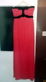 Size 12 Coral Strapless Maxi Dress/Evening Gown