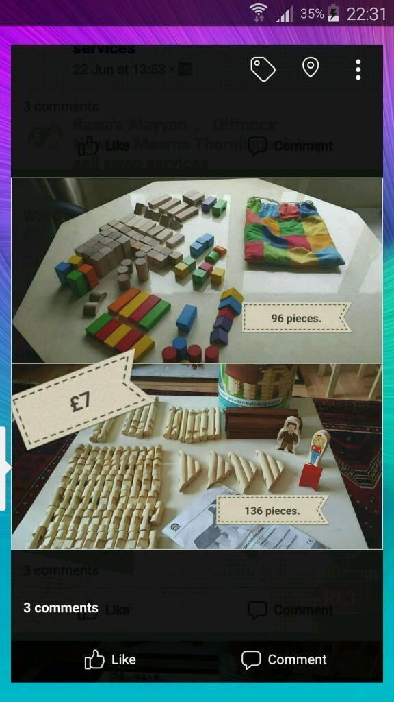 96 + 136 pieces wooden blocks