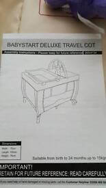 Babystart deluxe travel cot