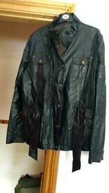 Vintage style leather look jacket womens