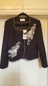 New with tag Precis Petite black with cornelli and pearls jacket size 12