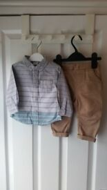 Boys clothes 3 - 6 month old Chinos style trousers and shirt combo