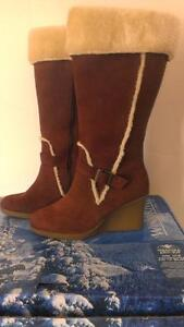 SIZE 6 Midtown boots WOMEN'S ADRIENNE VITTADINI THERESA CHOCOLATE KID SUEDE and SHEARLING BOOTS