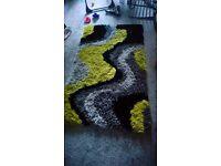 Green, black and grey 3d shaggy rug