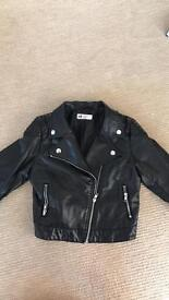Girls Faux Leather Cropped Jacket