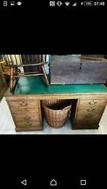 Solid oak twin pedestal desk