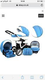 Blue boys pram / pushchair /car seat / bag / cost toes