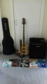 Schecter Bass Guitar and Crate Amp plus accessories