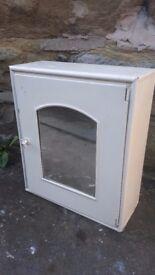 Vintage Retro Metal Bathroom Cabinet Cupboard Off White Mirrored Door Mirror Medicine First Aid
