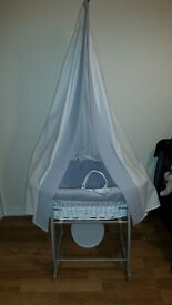 Clair De Lune Moses Basket, Rocking Stand and Canopy