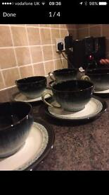 6 DENBY halo teacups and saucers.