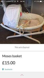 Baby Moses basket with extra mattress good condition