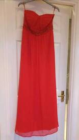 Size 8 strapless Prom Dress, or evening dress red from monsoon s