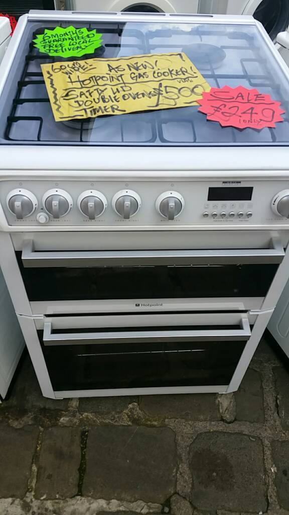 HOTPOINT GAS COOKER EX CATALOGUE AS NEW CONDITION DOUBLE OVENS 60CM WIDE