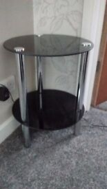 2 x Black round glass coffee/side tables